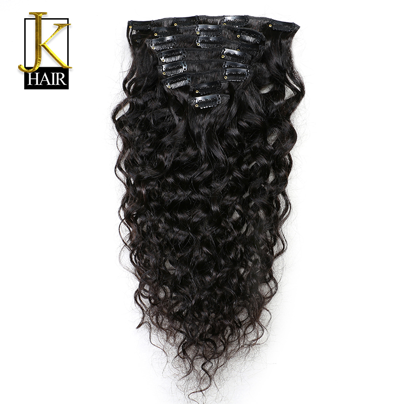 JK Hair Brazilian Remy Natural Wave Hair Clip In Human Hair Extensions Natural Color 8 Pieces/Set Whole Head Sets 120G Ship Free
