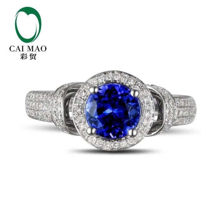 CaiMao 18KT/750 Белое золото 1,71 ct натуральный если Синий танзанит AAA 0,56 круглой огранки обручение Драгоценное кольцо ювелирные изделия