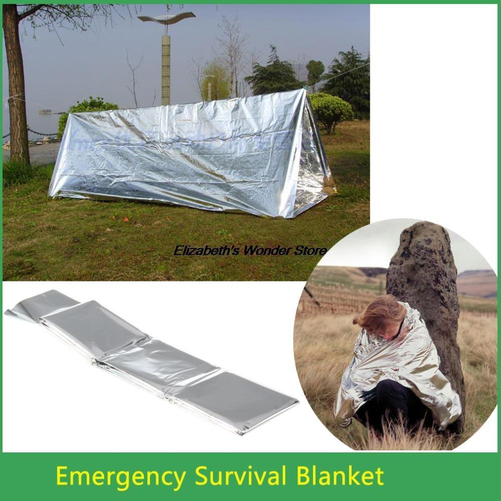 Wholesale Outdoor Survival WaterProof Emergency Rescue Blanket Foil Thermal Space First Aid Kit Rescue Curtain Military Blankets