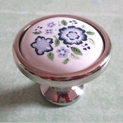 White handle Dresser Pull Drawer Knobs  Handles Ceramic Knobs Kitchen Cabinet door  Knobs Silver Furniture handles Blue Blossom