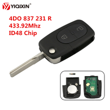 YIQIXIN 433.92Mhz 2 Button Folding Flip Remote Car Key With ID48 Transponder Chip For Audi A2 A3 A4 A6 A8 TT RS4 4DO 837 231 R