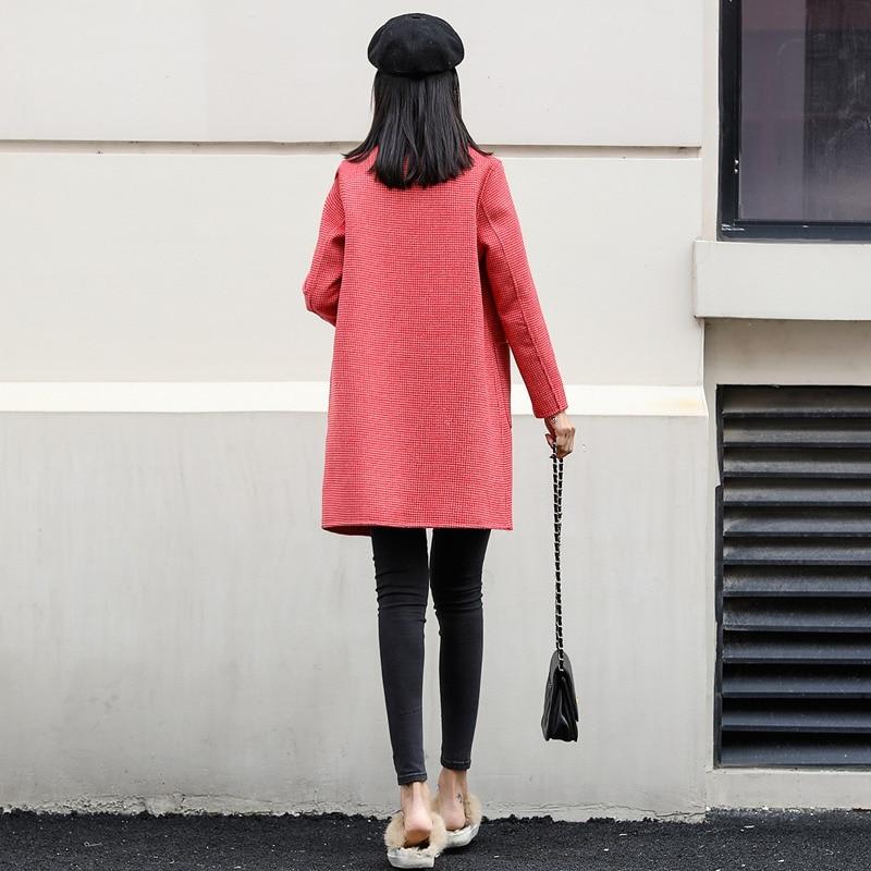 Nuovo doppio sided cashmere cappotto in primavera del 2019 100% cappotto di lana per le donne cappotto a quadri rosso di lana cappotti giacca lunga di inverno - 4