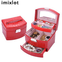 imixlot Leather Multistory Jewelry Box Organizer Case Ring Earring Necklace Mirror Storage Case Organizer Display Accessories