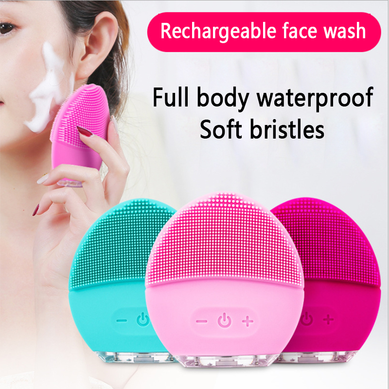 Electric Facial Cleansing Brush Silicone Face Massage Sonic Vibracion Waterproof Vibrator Machine Pore Cleaner Skin Care ToolsElectric Facial Cleansing Brush Silicone Face Massage Sonic Vibracion Waterproof Vibrator Machine Pore Cleaner Skin Care Tools