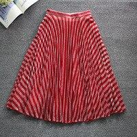 Women Red Skirt fashion Stripped Pleated Skirt jupe tulle faldas mujer moda 2019 midi skirt
