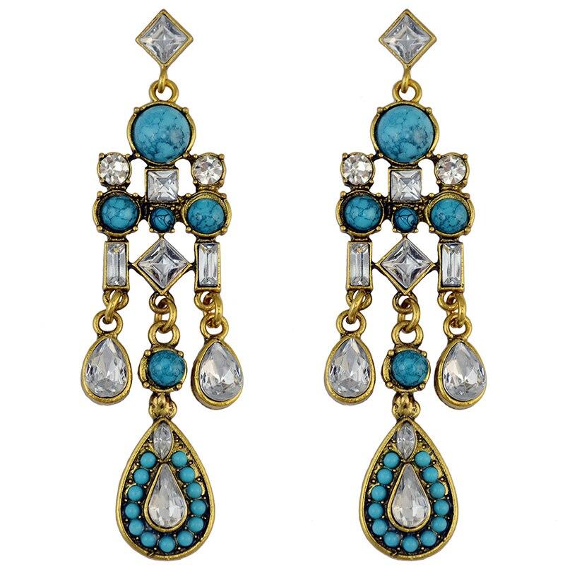BONLAVIE 1 Pair WomenS Wild Tassels Turquoises Crystal Drip Gold Color Dangle Earrings Orecchini Pendenti Party Gift XXYE191