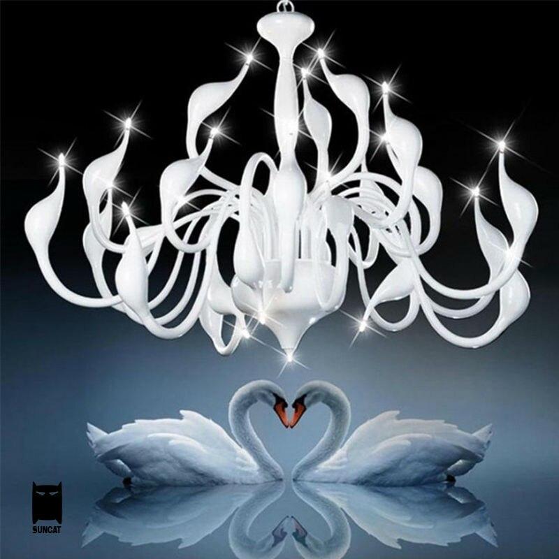 24 Lights Wrought Iron Swan Chandelier Fixture Modern Art Deco Hanging Lamp Lustre Luminaria Design for Home Bedroom Living Room