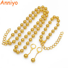 Anniyo Beads Necklace Earrings Bracelet Jewelry set for Wome Ball Beaded Chains Gold Color African Ethiopian Bridal Gift #196006(China)