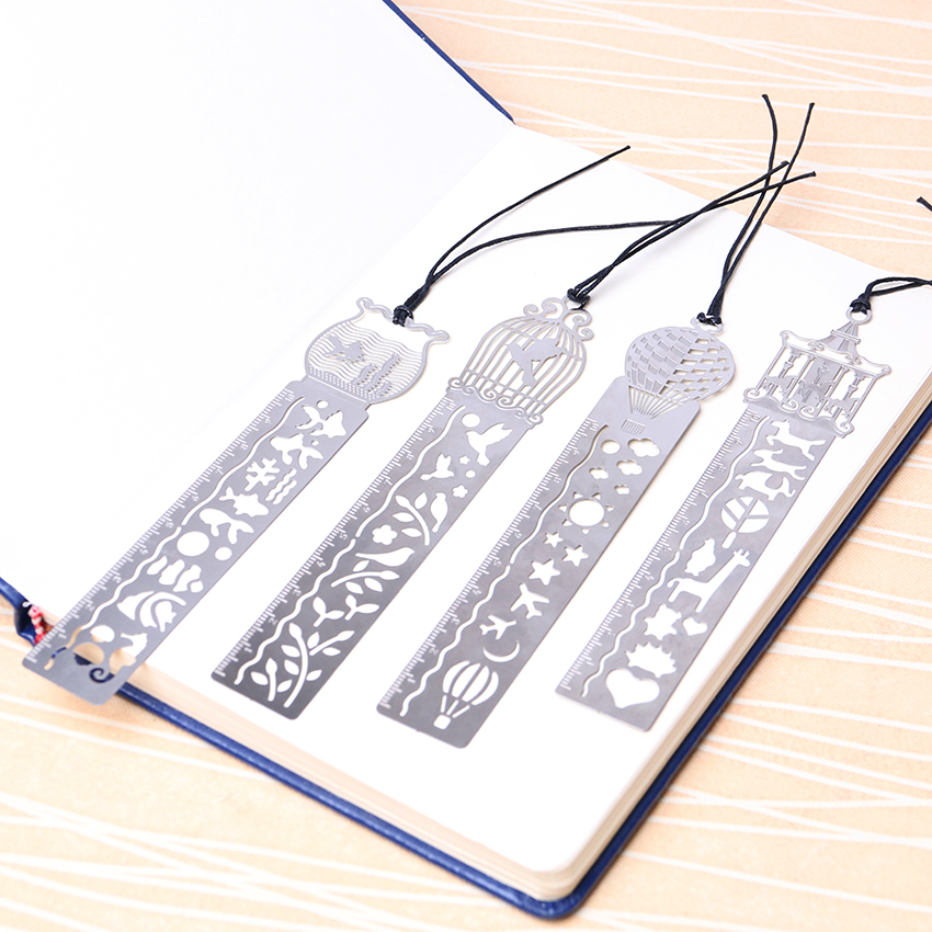 1PC Creative Metal Straight Ruler Bookmark Hollow Ultra-thin Rulers Korea Stationery Office School 4 Style Random Delivery