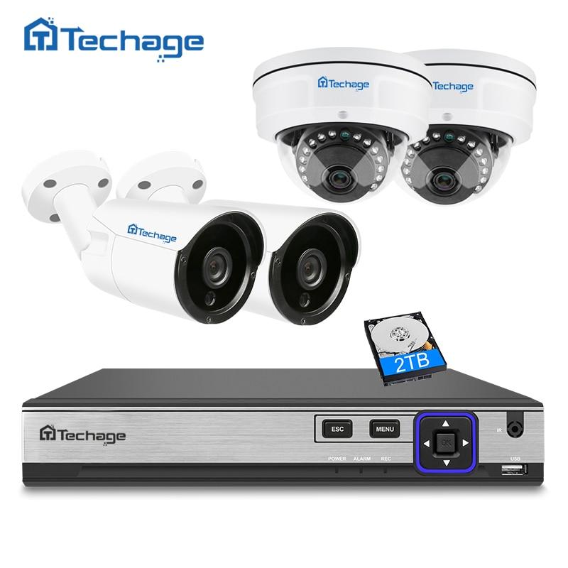Techage H.265 4CH 4MP NVR POE CCTV Système Intérieur Extérieur Anti-Vandalisme Anti-vandalisme Dôme IP Caméra P2P ONVIF Surveillance système