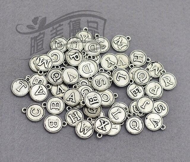 Engels Antiek Zilver.26 Stks Lot 12mm Antiek Zilver Brons Goud Ronde Vorm 26 Alfabet