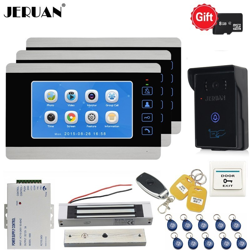 JERUAN Home 7 Inch LCD Color Video Doorbell Doorphone Voice/Video Recording Intercom System kit With Waterproof RFID Camera 1V3