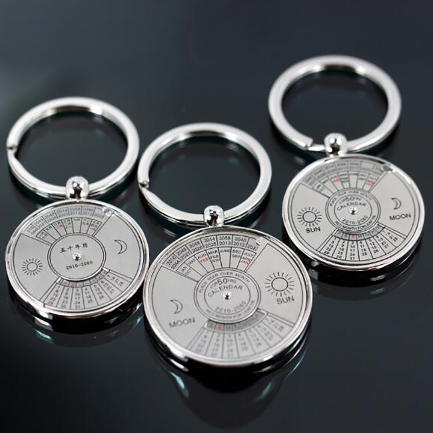 1PC Mini Perpetual Calendar 2019 Keychains Unique Metal Keyring Sun Moon Carving 2010 To 2060 Calendar Key Ring Customize LOGO