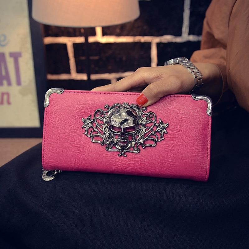 Female Skull Wallet Carteira Caveira Leathe Long Porte Feuille Femme Wallets Skull Flower Design Lady Women Wallet 2019 Purses