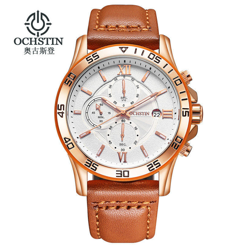 Top Luxury Brand OCHSTIN Men Sports Watches Men's Quartz Date Clock Man Leather Army Military Wrist Watch Relogio Masculino