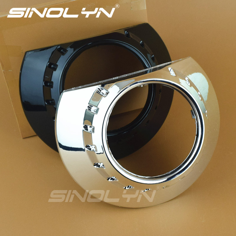 Sinolyn E46-R Bezels Shrouds Masks Replacement Chorme Silver Black For 2.5'' 3.0'' Q5 WST Aftermarket Bixenon Projector Lens