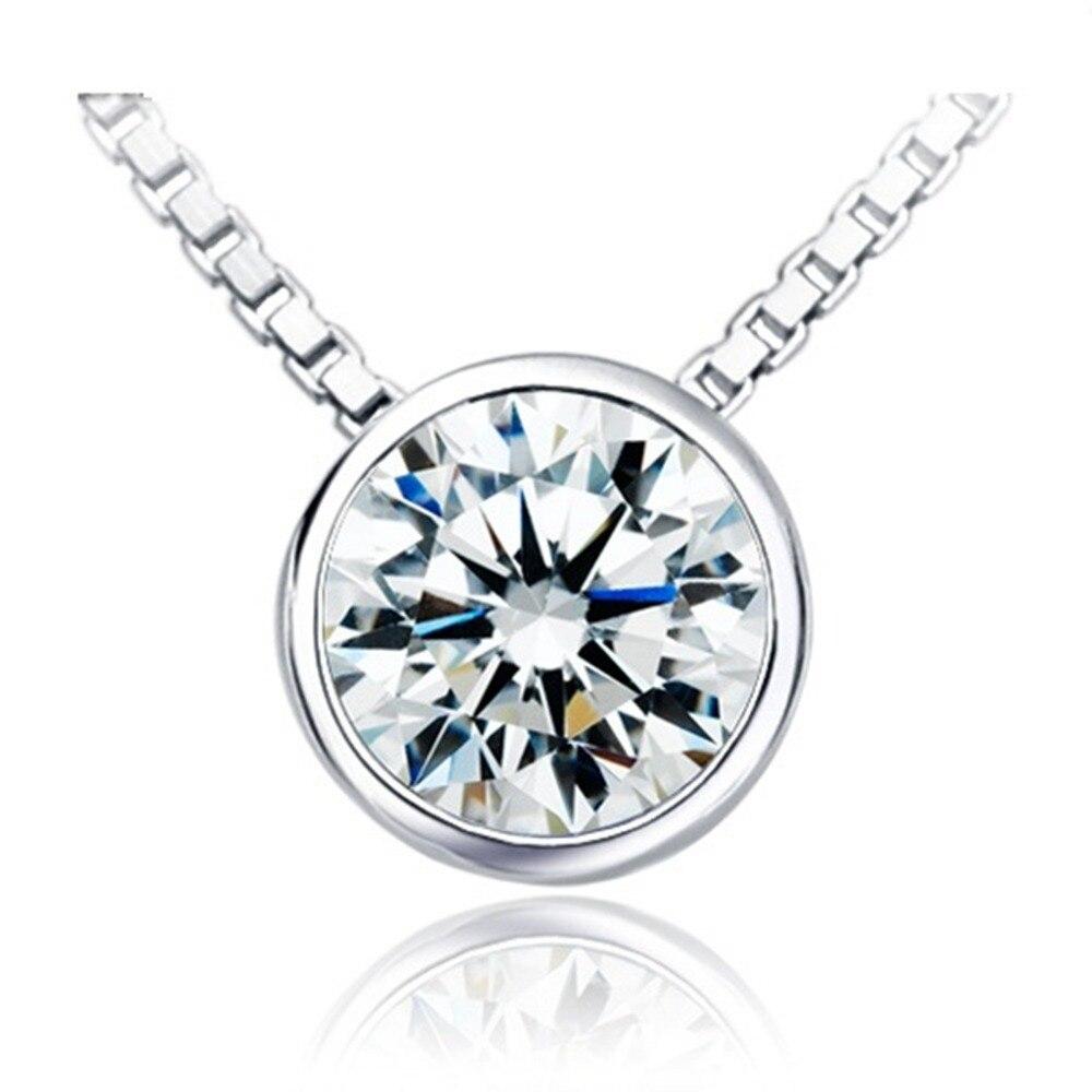 En gros 1 Carat Excellent pendentif Solitaire rond glisser diamant pendentif de fiançailles parfaitement 40 cm collier gratuit-in Pendentifs from Bijoux et Accessoires    1
