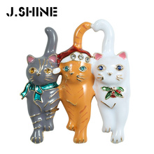 JShine Cute Enamel Brooch Cat Decoration Brooches for Women Vintage Three Cats Suit Scarf Clothes Imitation Jewelry