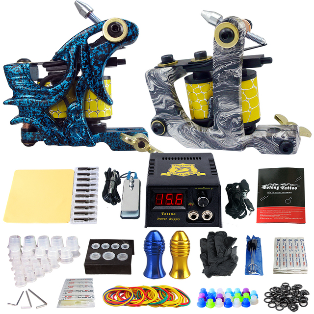 Beginner Complete Tattoo Kit 2 Professional Tattoo Machine Kit Coil Machine Guns Power Supply Needle Grips Set TK202-7
