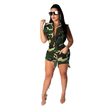 Camouflage Women Jumpsuit 2019 Summer Bodycon Sleeveless Playsuit Sexy Camo Rompers Female Slim Streetwear Button Up Jumpsuits