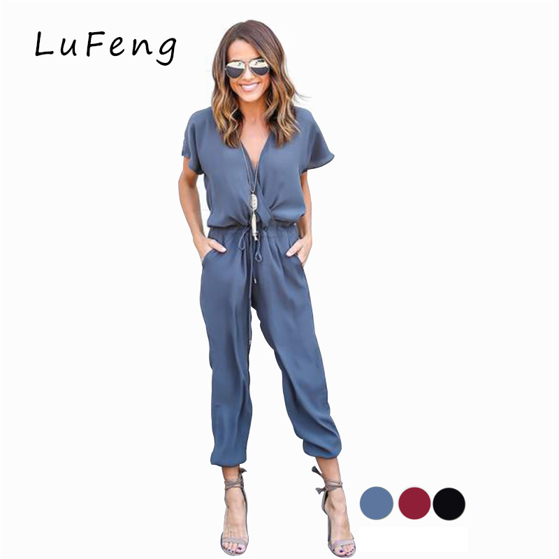 Jumpsuit Long Rompers Womens Jumpsuit One Piece Overall Salopette Feminino Dungarees 2 Piece Coveralls DCJ-16613 ...