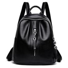 цена на women backpack leather PU female school student backpacks for teenage girls women casual black high quality shoulder bags