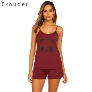 Image 4 - Ekouaer женское нижнее белье, шорты, пижамы, круглый вырез, регулируемый ремень, комплект пижам с принтом