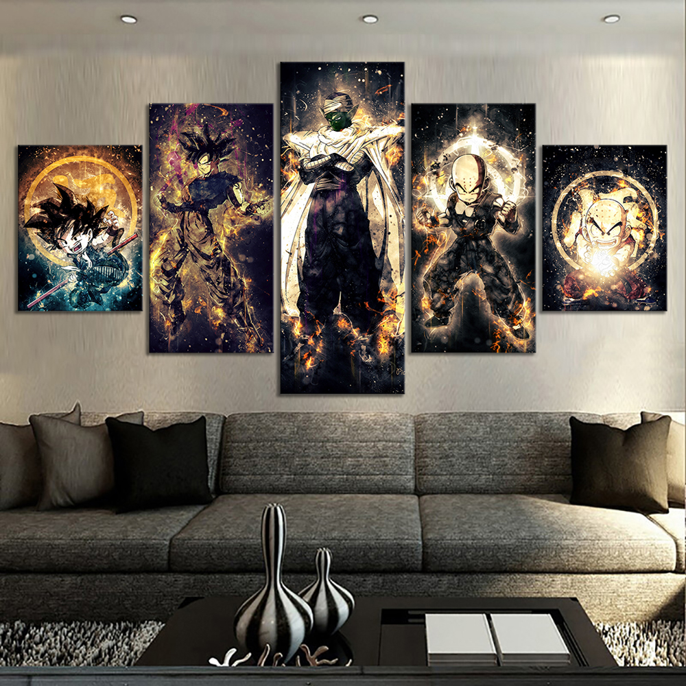 5 Piece Dragon Ball Z Anime Poster Paintings Kulilin Piccolo Goku Poster Abstract Art Wall Painting For Home Decor Wall Art