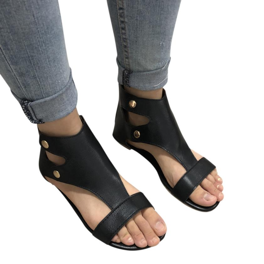 Summer Ladies Women Leather Sandals Fashion Flat Roman Shoes Casual Shoes gladiator sandals women flat sandalias mujer 2018 A6 gladiator women s sandals 2018 summer new casual shoes women s shoes european roman style zipper bag with flat women s sandals