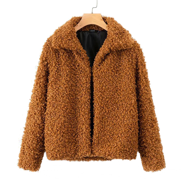 warm winter faux fur coat women Fashion Shaggy Cardigan coat female solid casual autumn white women jacket coat outerwear