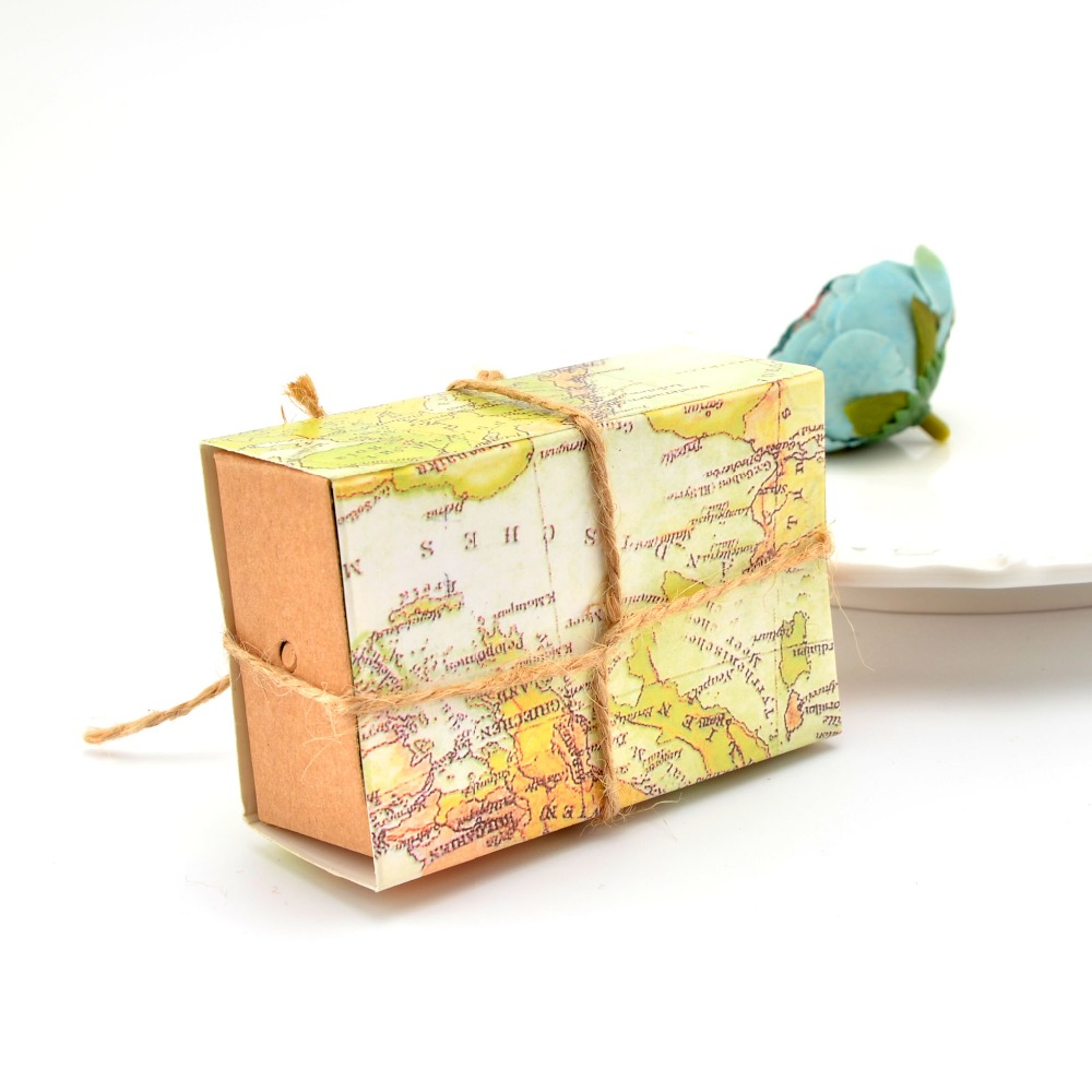 Wedding Favor box 50pc Rustic Hessian Rope Wrapped Map Paper Candy ...