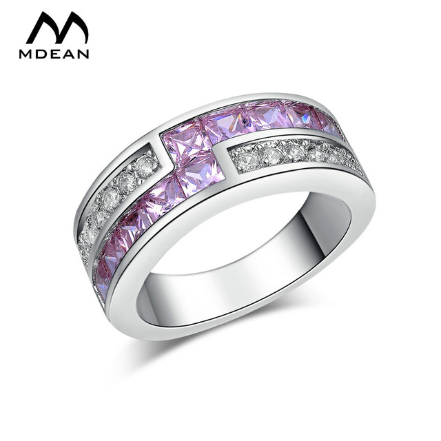 MDEAN White Gold Color Round Rings for Women Purple Simulated AAA Zircon Round Engagement Anilos Bague MSR163