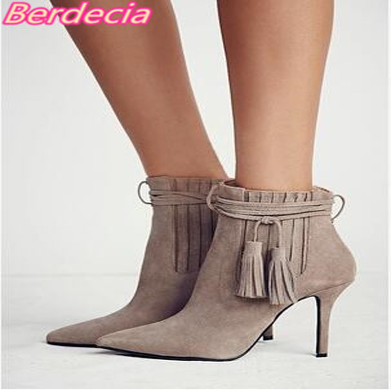 New High Heels Women Ankle Boots Pointed Toe Fashion Sexy Pumps Boots Women Fringe Thin Heels Spring Autumn Comfort Women Shoes