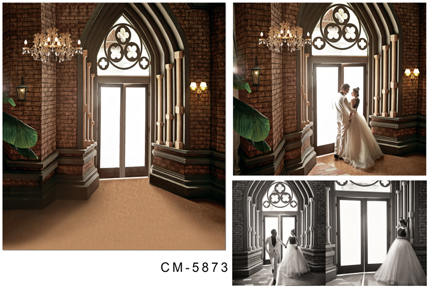 Customize vinyl cloth print 3 D Gothic cathedral wallpaper photo studio background for portrait photography backdrops CM-5873