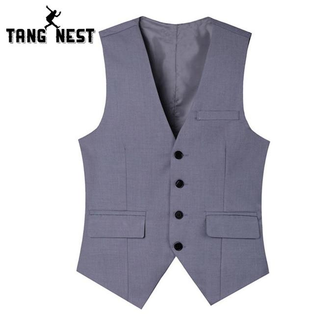 TANGNEST Hot Sale 2017 Spring Autumn Single-breasted Man Vest Slim V-neck Suit Vest Male Black Grey Asian Size MWB181