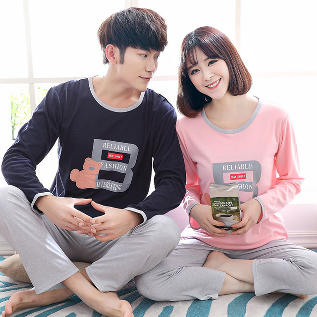 Pajamas For couples man and Women Lovers Sleepwear Cotton Long sleeves Sleep pullover Couple spring Pajama Sets