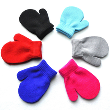 Hot Baby Toddler Red Mittens Gloves Boys Girls Solid Winter Warm Comfort Kids Gloves 7 Colors(China)
