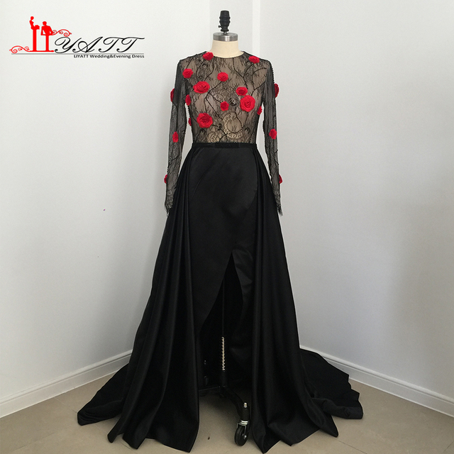 2017 neue Kollektion Abendkleider Schwarz Rot 3D Rose Blume Vintage ...