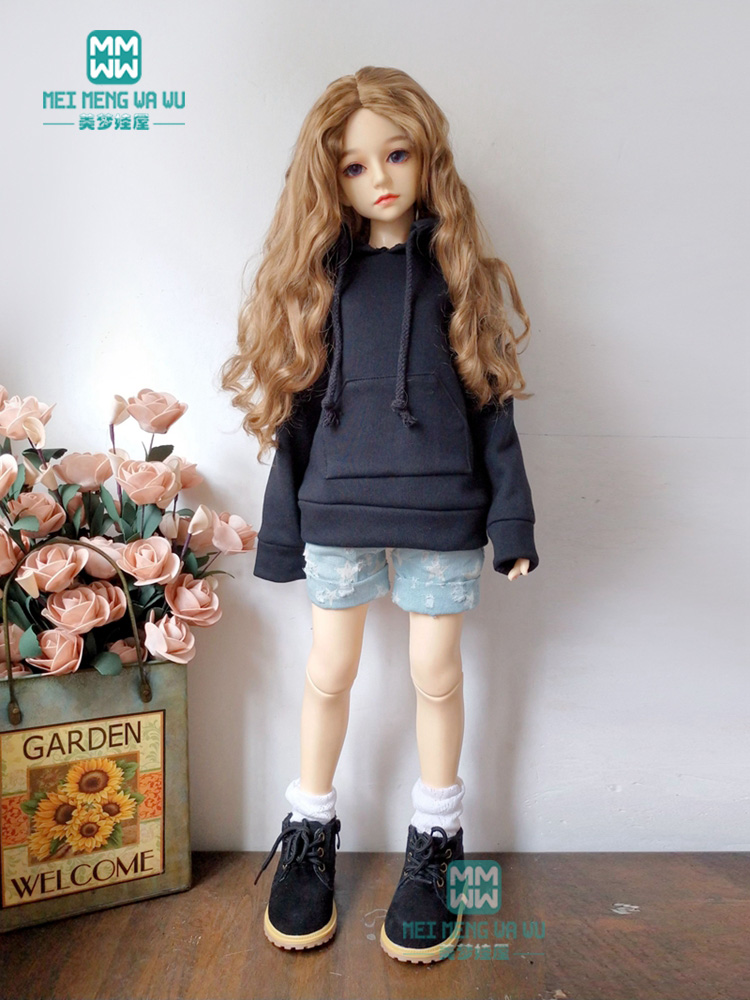 BJD Doll Clothes For 1/3 BJD SD Doll Black Fashion Casual Wear + Denim Shorts