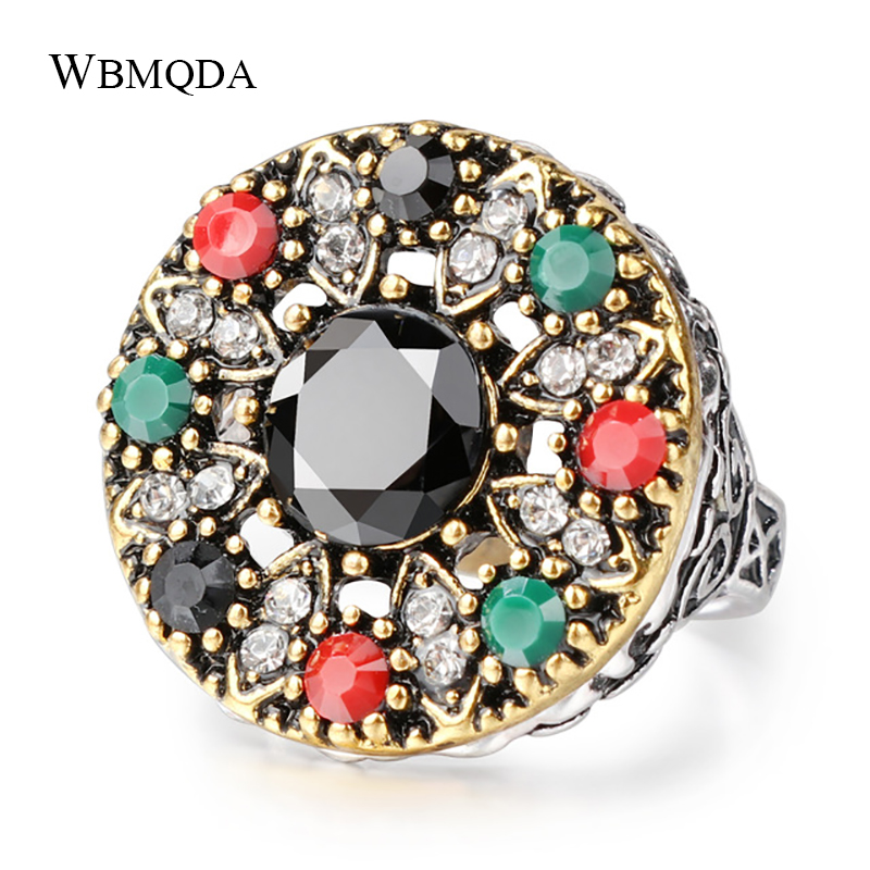 Ethnic Bohemian Colorful Crystal Ring Vintage Turkish Jewelry Antique Gold Silver Wedding Rings For Women 2018 New Arrivals