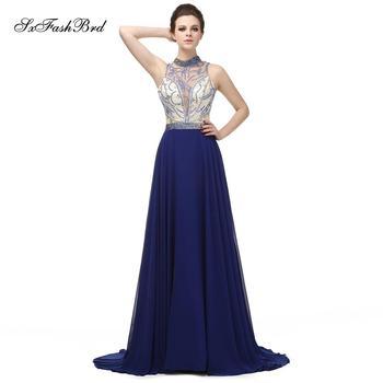 55751cbec Traje Longue cuello alto con un cordón largo Formal elegante vestido para  las mujeres vestidos de