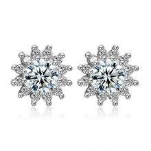 100% 925 Sterling Silver Fashion Shiny Crystal Ladies' Stud Earrings Women