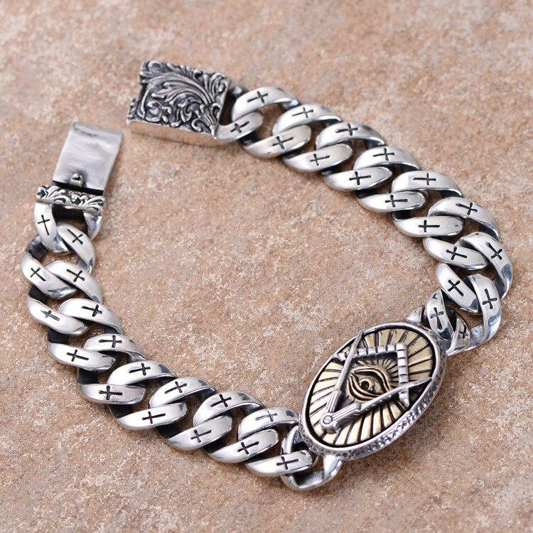 Vente en gros 925 l'oeil de dieu le mâle de croix reconstituant les anciennes manières du bracelet de conception de grain de phoenix avec de nouveaux produits