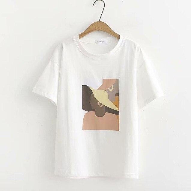 Abstract Printing White T-Shirts Tees Women Short Sleeve O Neck Tops 2019 Summer Student T-Shirts Harajuku 4