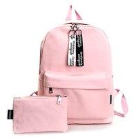 COOL WALKER Solid Women Canvas Backpacks Women S Fashion School Backpacks For Teenage Girls 2 Pcs