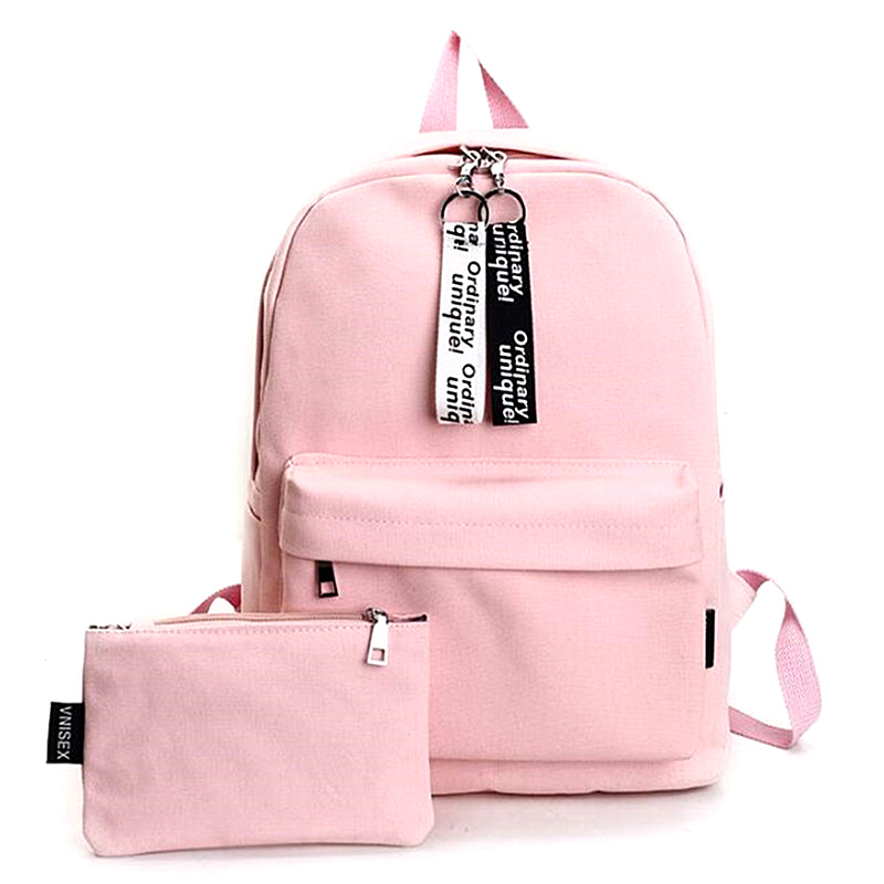 COOL WALKER Solid Girls Boys Canvas Backpacks Women Fashion School Backpacks for Teenage Girls 2 Pcs/se Rucksack Bagpack Female