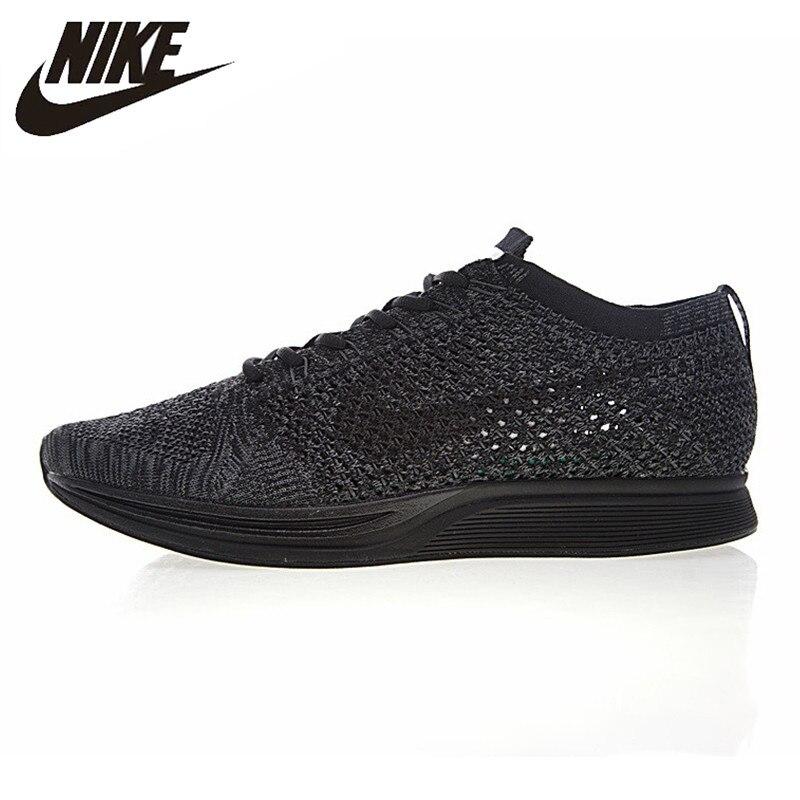 design de qualité 2eea2 a1e0d € 110.62 30% de réduction|Nike Flyknit Racer Triple chaussures de course  pour hommes, noir blanc, antidérapant antidérapant résistant à l'usure ...