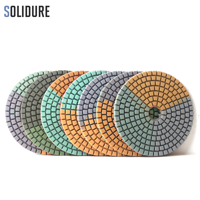 7pcs/Set  Colorful Diamond Wet Polishing Pad 4 Inch Grinding Discs Flexibale Sanding Pad For Marble Granite Engineered Stone