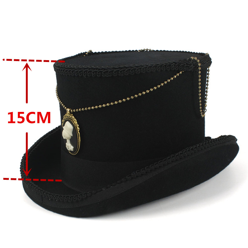 b13220c365 15CM Black Top Hat Wool Women Men Steampunk Fedora Hat With Handmade Magic  Cosplay Party Cylinder Hat Dropshipping