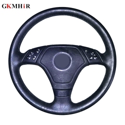 GKMHiR Nero Del Cuoio Genuino Copertura del Volante Cucito A mano Copertura Auto Volante per BMW E36 E39 E46 Lnterior Accessori